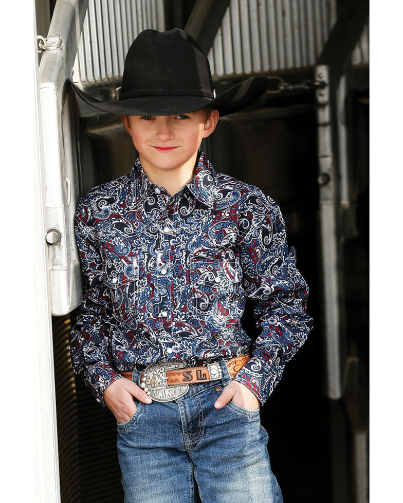 Cinch Boys' Multi Paisley Print Long Sleeve Western Shirt  , Multi, hi-res