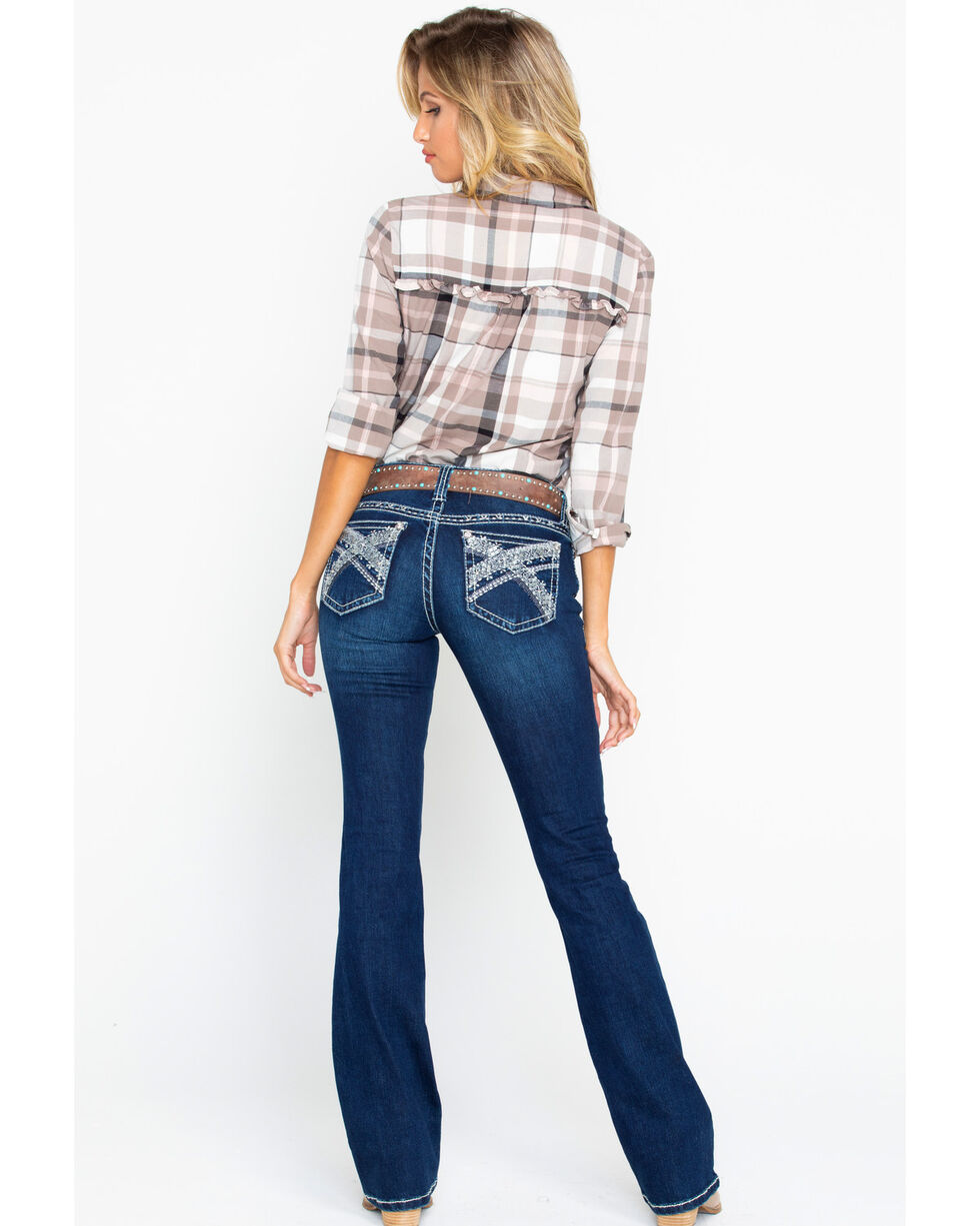 Shyanne Women's Skinny Yoke Stitch Jeans, Blue, hi-res