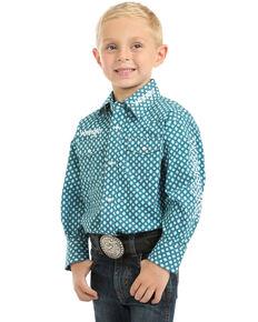 Wrangler Boys' Logo Geo Print Long Sleeve Western Shirt , Turquoise, hi-res