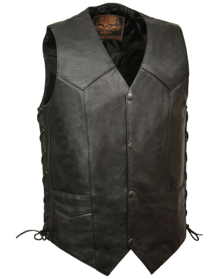 Milwaukee Leather Men's 40-48 Classic Side Lace Vest , Black, hi-res