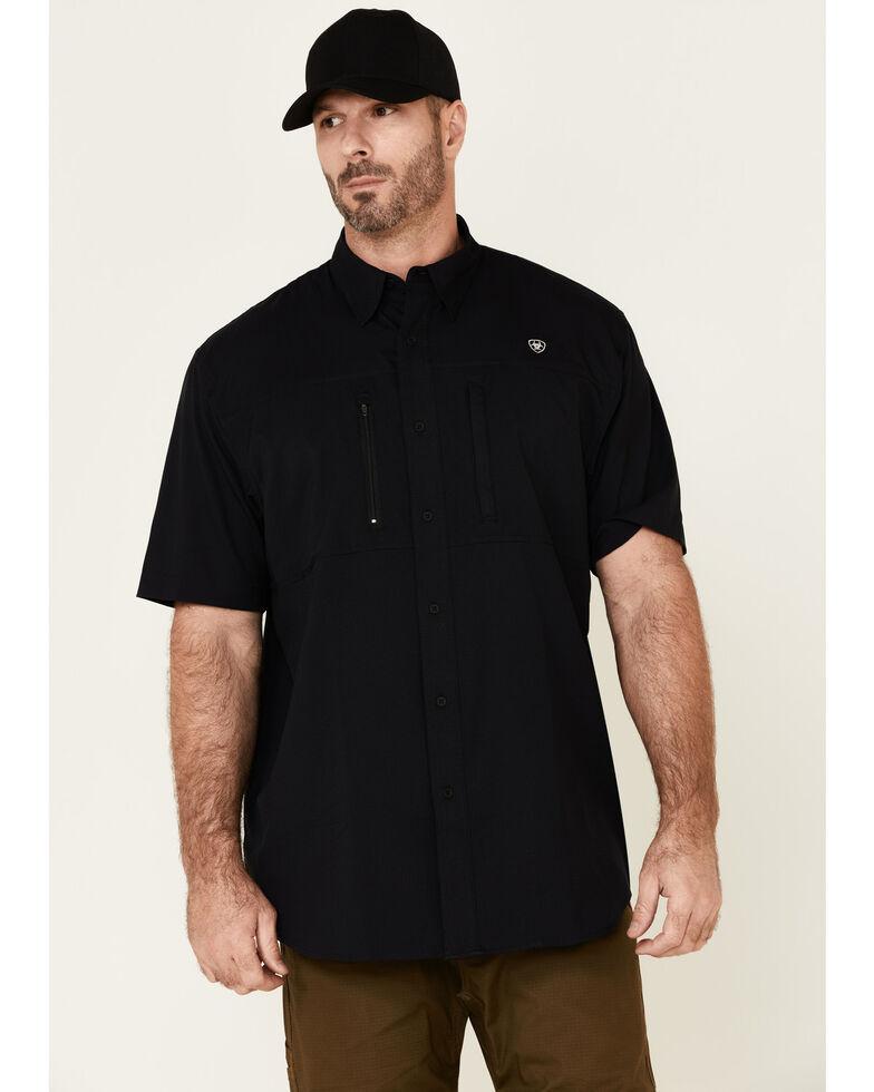 Ariat Men's Black Ventek Solid Button Short Sleeve Western Shirt , Black, hi-res