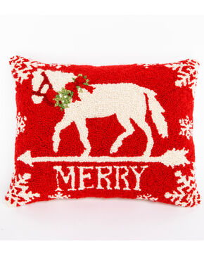 BB Ranch Merry Horse Hook Pillow, Red, hi-res