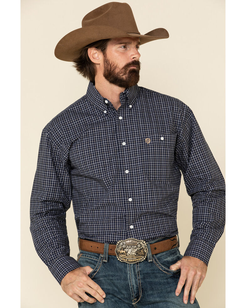 George Strait By Wrangler Men's Navy Small Plaid Long Sleeve Western Shirt - Tall , Navy, hi-res