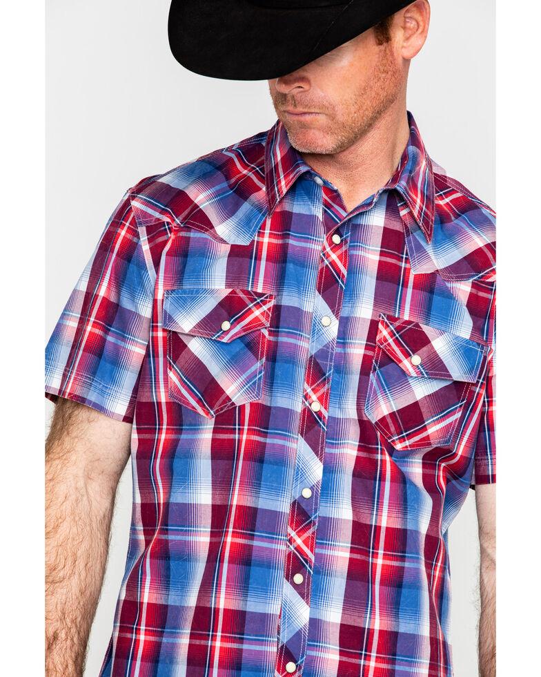 Rock & Roll Cowboy Men's Red Crinkle Washed Plaid Short Sleeve Western Shirt , Red, hi-res