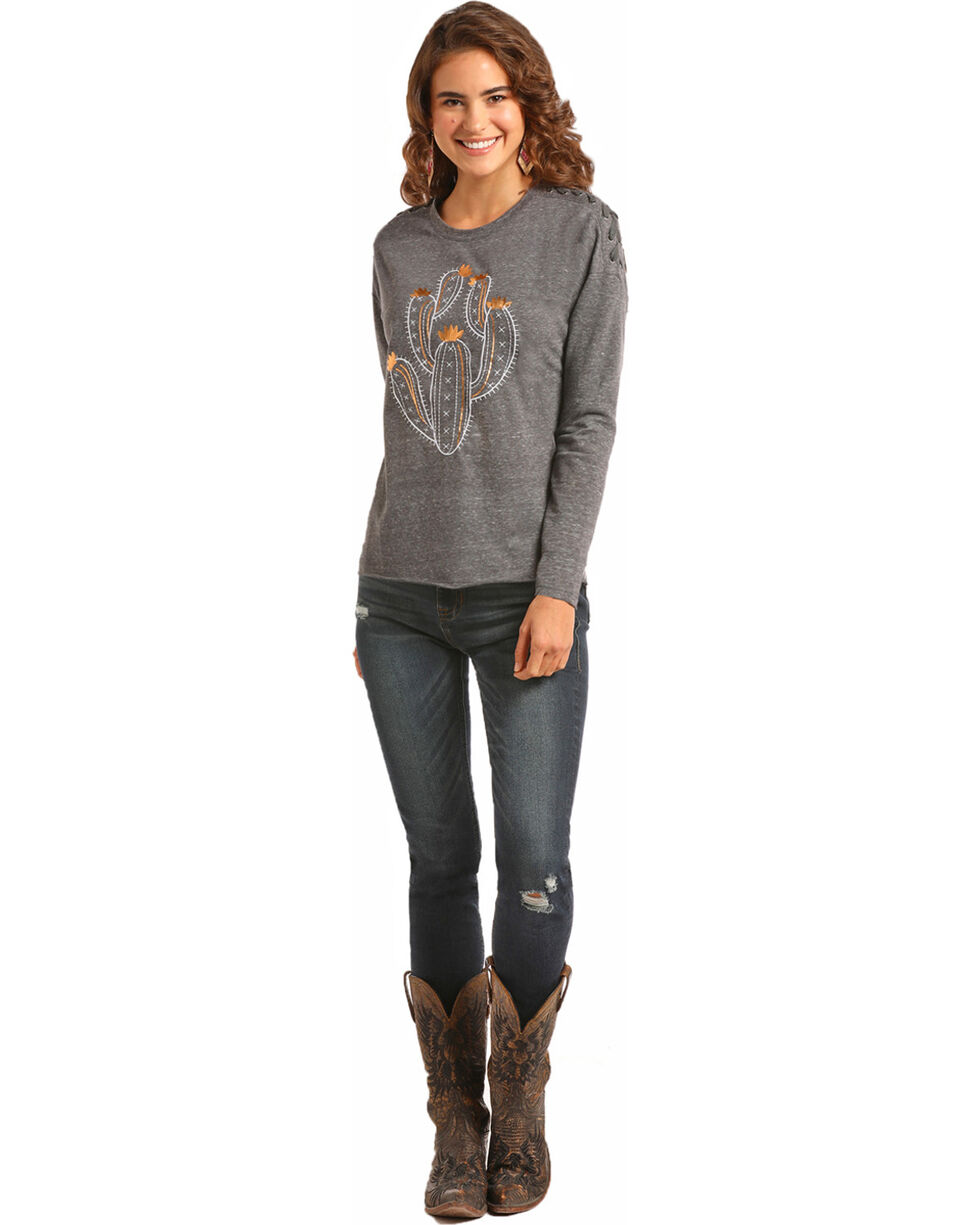 Rock & Roll Cowgirl Women's Grey Lace Up Shoulder Tee , Grey, hi-res
