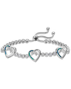 Montana Silversmiths Women's Follow Your Arrow Heart Bolo Bracelet, Silver, hi-res
