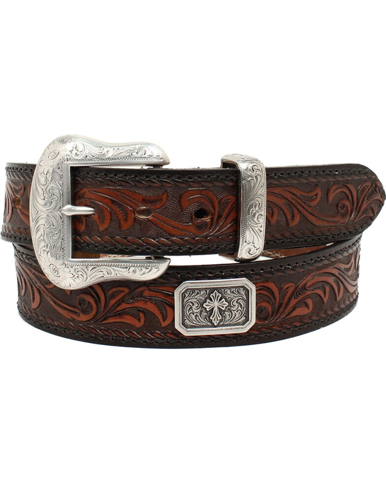 Nocona Men's Prescott Floral Embossed Cross Concho Leather Belt , Black, hi-res