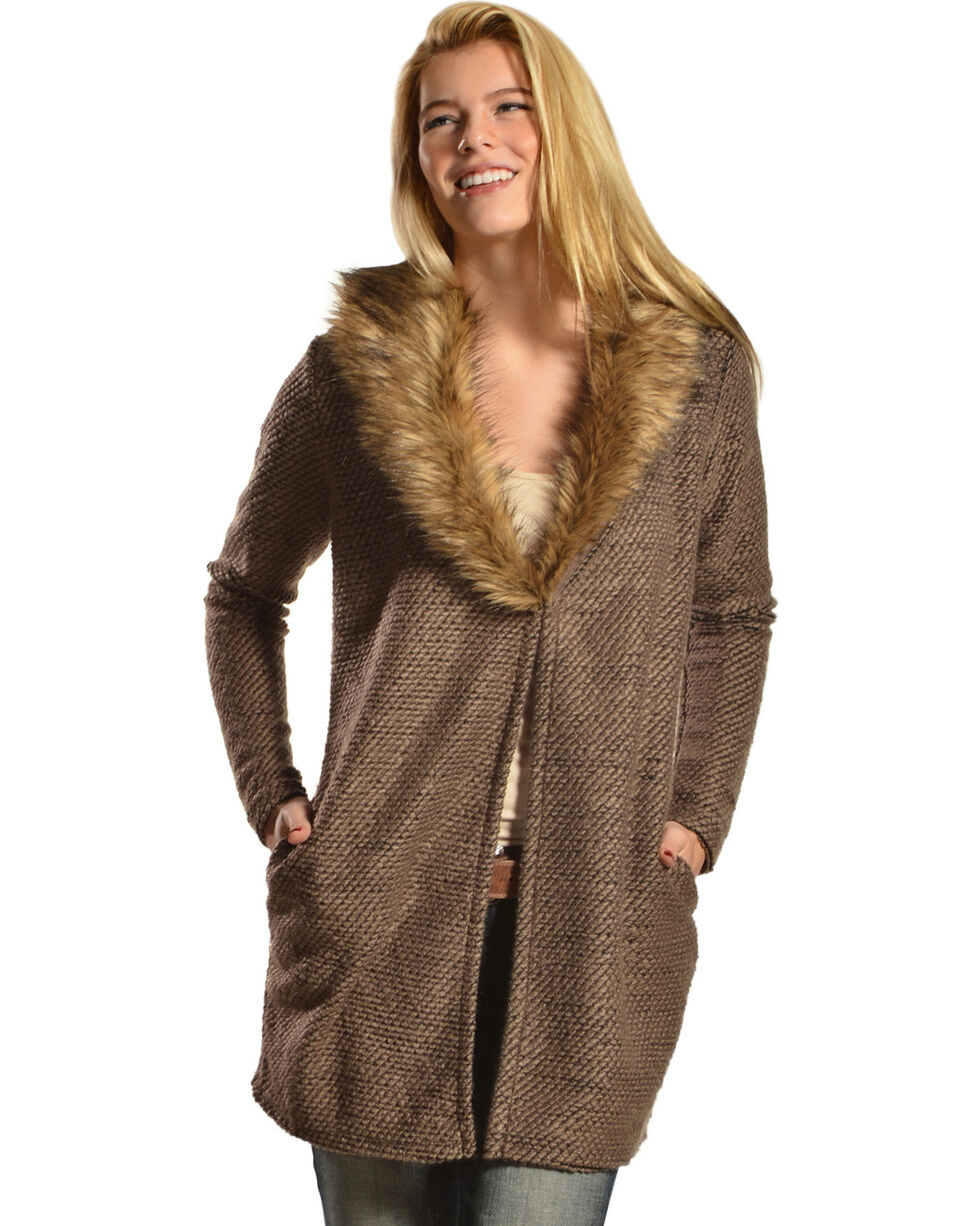 Black Swan Zoey Faux Fur Collar Cardigan, Dusty Brn, hi-res