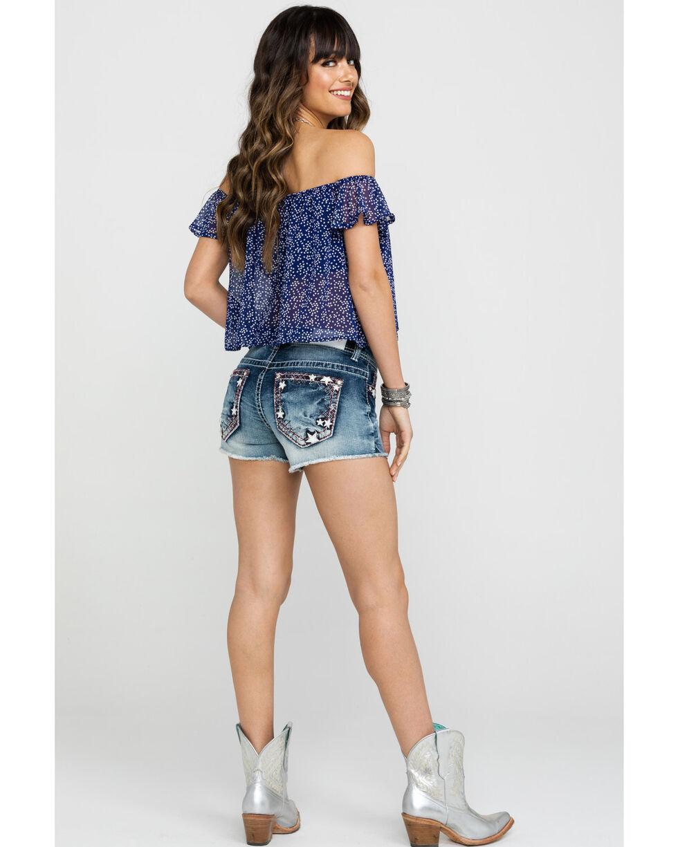 Shyanne Women's Star Embroidered Pocket Dark Denim Shorts  , Blue, hi-res
