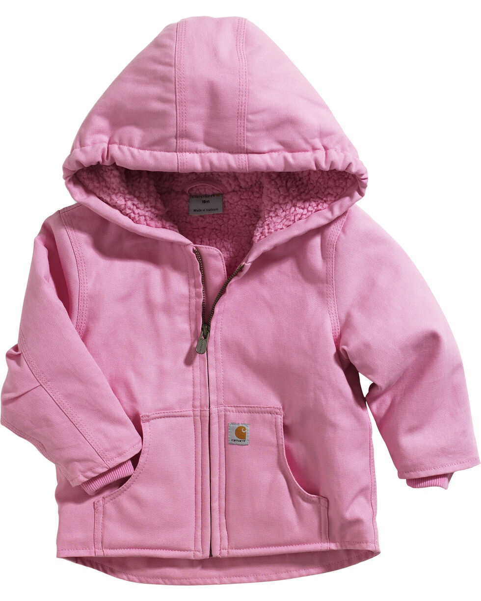 Carhartt Toddler's Sherpa Lined Canvas Jacket, Pink, hi-res