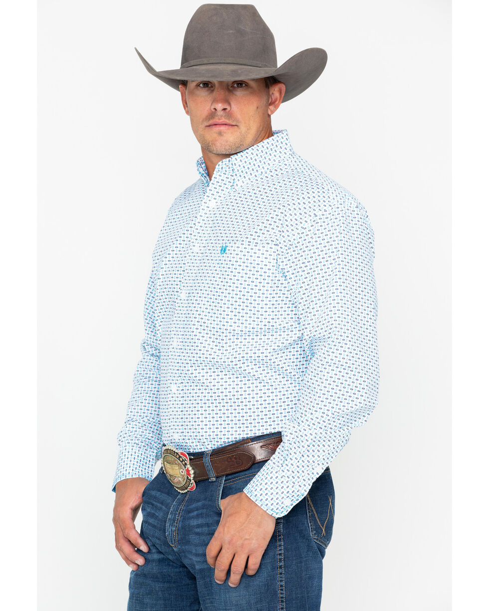 Panhandle Men's Comal Vintage Long Sleeve Western Shirt, White, hi-res