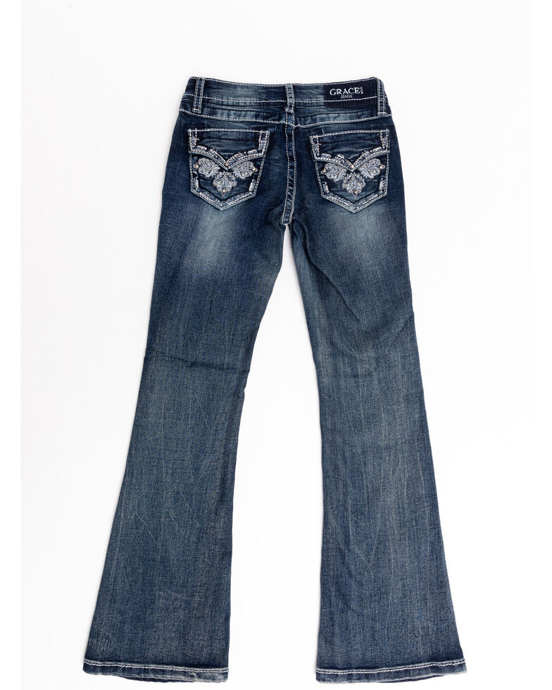 Grace in LA Girls' Medium Wash Paisley Embroidered Bootcut Jeans, Blue, hi-res