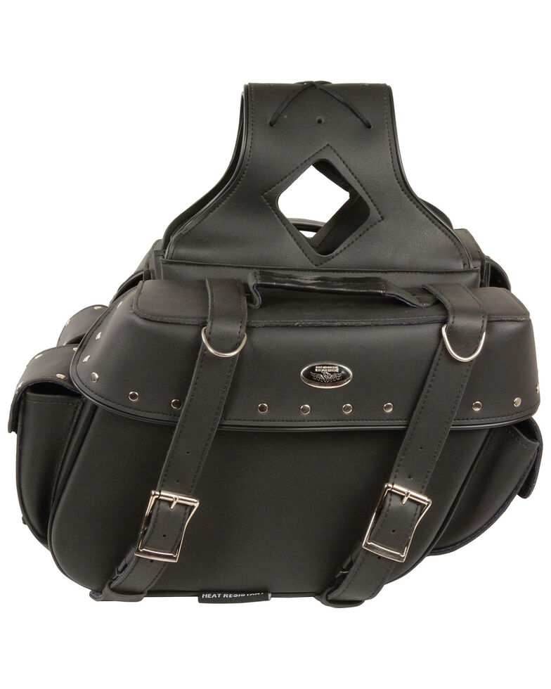 Milwaukee Leather Medium Zip-Off Throw Over Riveted Saddle Bag, Black, hi-res