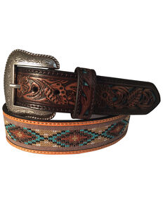 Roper Men's Brown Leather Cutout Inlay-ed Tooled Belt , Brown, hi-res