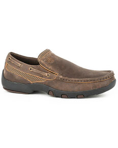 Roper Men's Johnnie Slip-On Shoes - Moc Toe, Brown, hi-res
