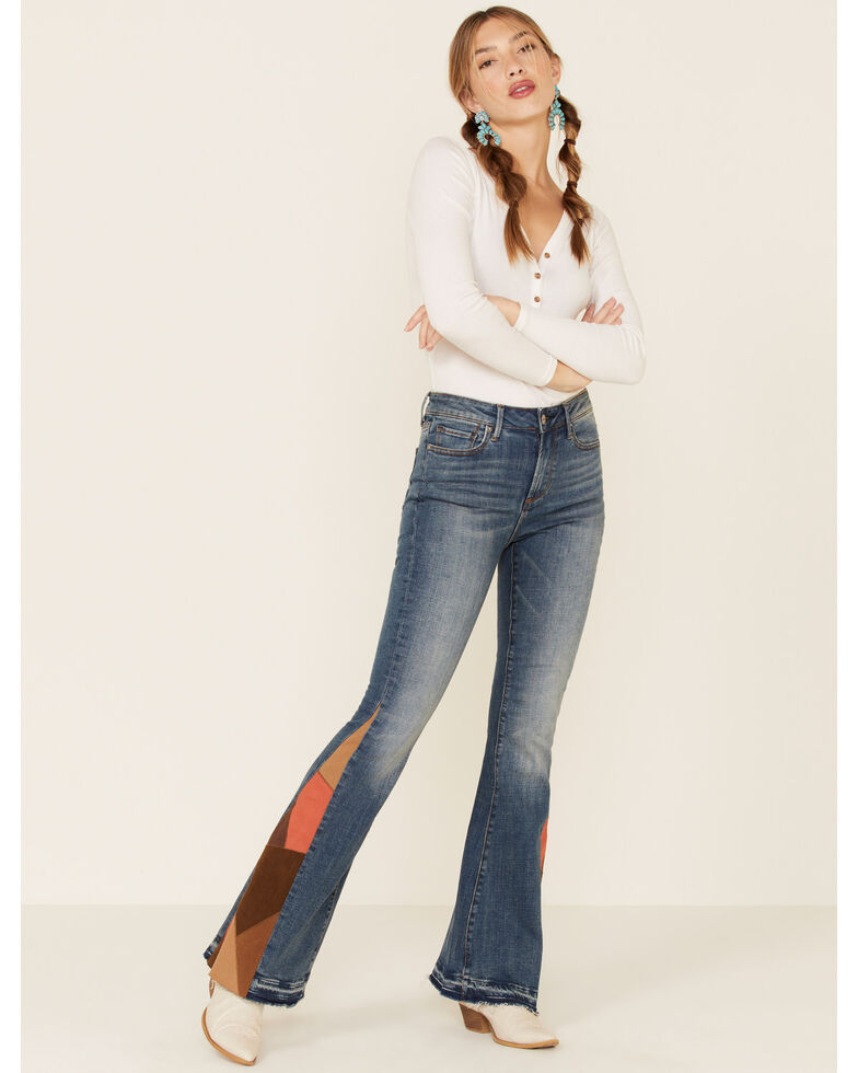 Driftwood Women's Medium Wash Suede Patchwork Flare Jeans , Blue, hi-res