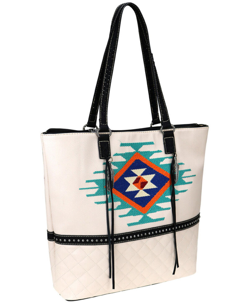 Montana West Women's Beige Embroidered Aztec Tote Bag, Beige/khaki, hi-res