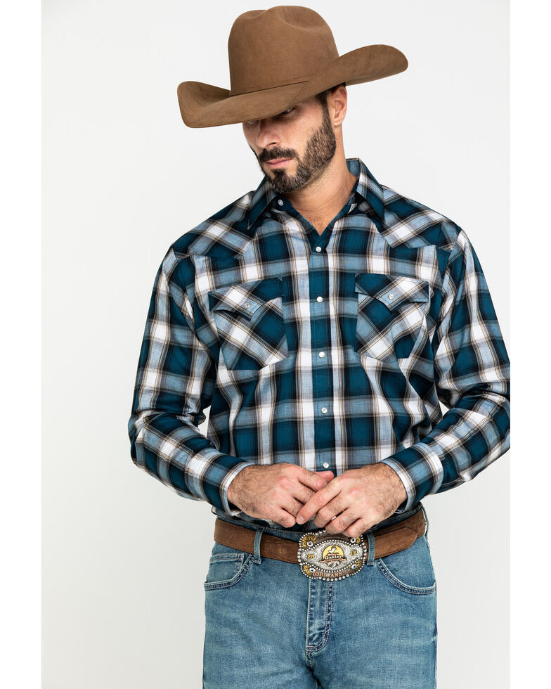 Ely Cattleman Men's Assorted Multi Dobby Large Plaid Long Sleeve Western Shirt , Multi, hi-res