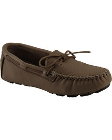 Men's Minnetonka Moosehide Driving Moccasins - XL, Chocolate, hi-res