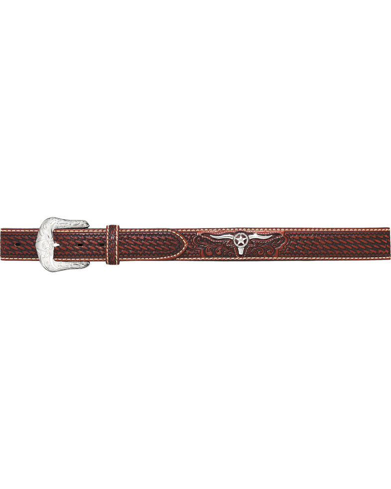 Justin Men's Trophy Bull Western Belt , Natural, hi-res