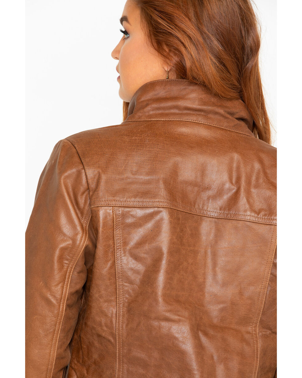 Outback Trading Women's Poly Leather Arya Jacket , Brown, hi-res