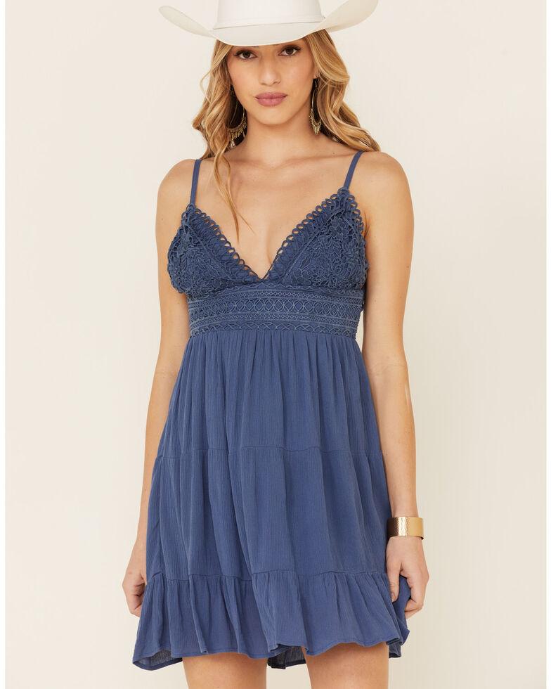 Tempted Women's Crochet Top Sundress, Blue, hi-res