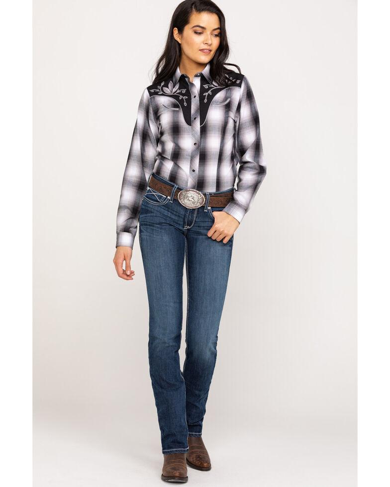 Roper Women's Grey Plaid Floral Yoke Long Sleeve Western Shirt, Black, hi-res