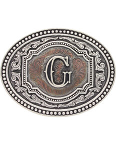 "Montana Silversmiths Men's Initial ""G"" Two-Tone Attitude Belt Buckle, Silver, hi-res"