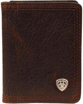 Ariat Logo Concho Bi-fold Wallet, Brown, hi-res