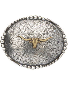 Cody James® Men's Long Horn Belt Buckle, Multi, hi-res