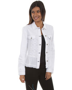 Scully Women's Georgette Ruffle Denim Jacket, White, hi-res