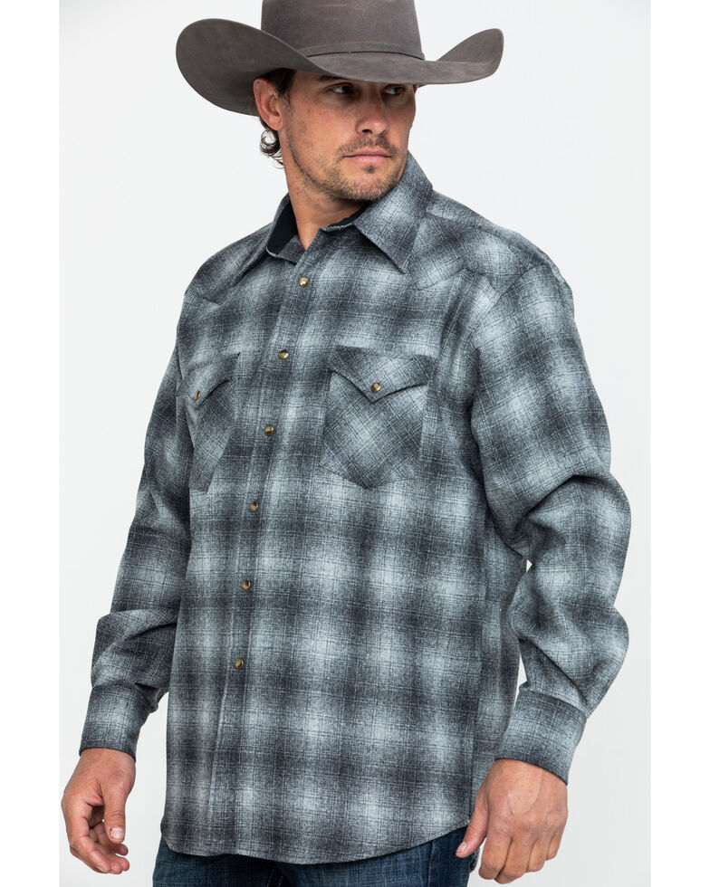 Pendleton Men's Grey Canyon Ombre Plaid Long Sleeve Western Flannel Shirt , Grey, hi-res