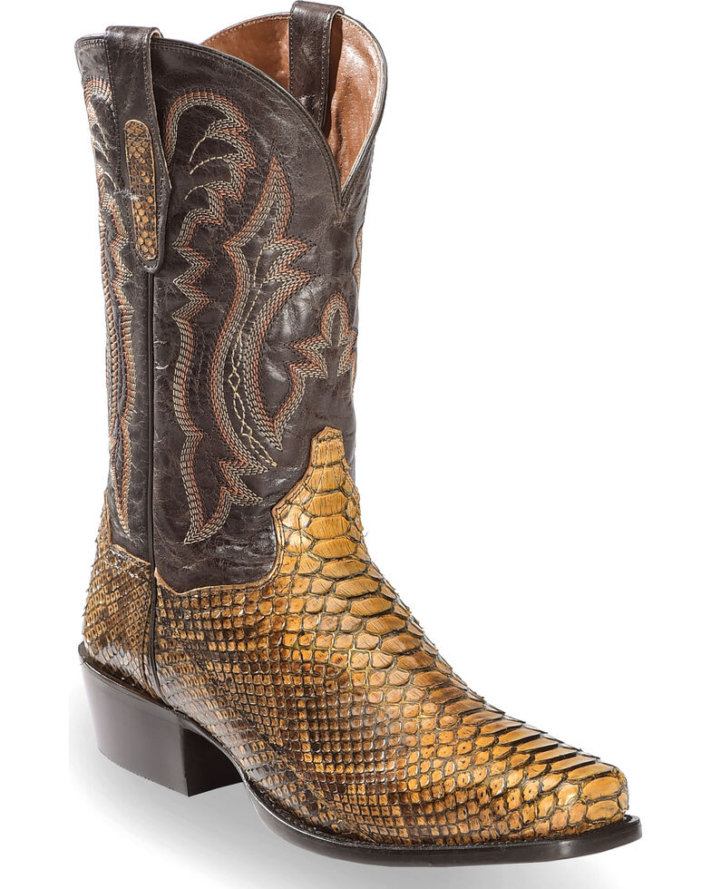 Dan Post Men's Taupe Back Cut Python Cowboy Boots - Square Toe, Taupe, hi-res