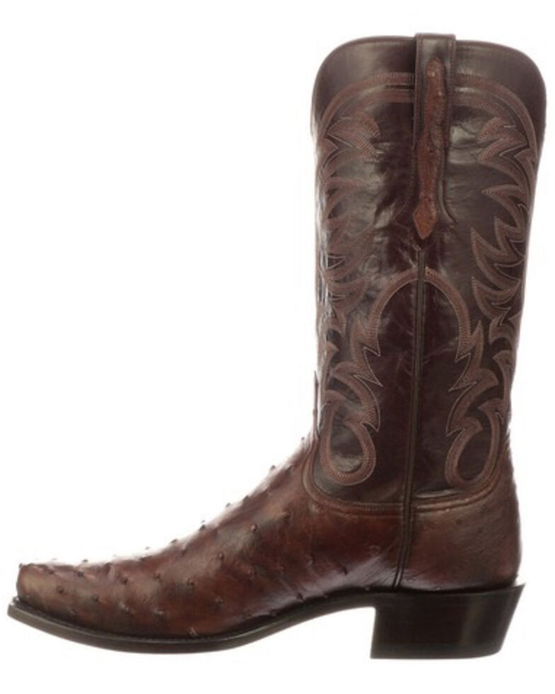Lucchese Men's Hugo Full Quill Ostrich Western Boots - Round Toe, Mahogany, hi-res
