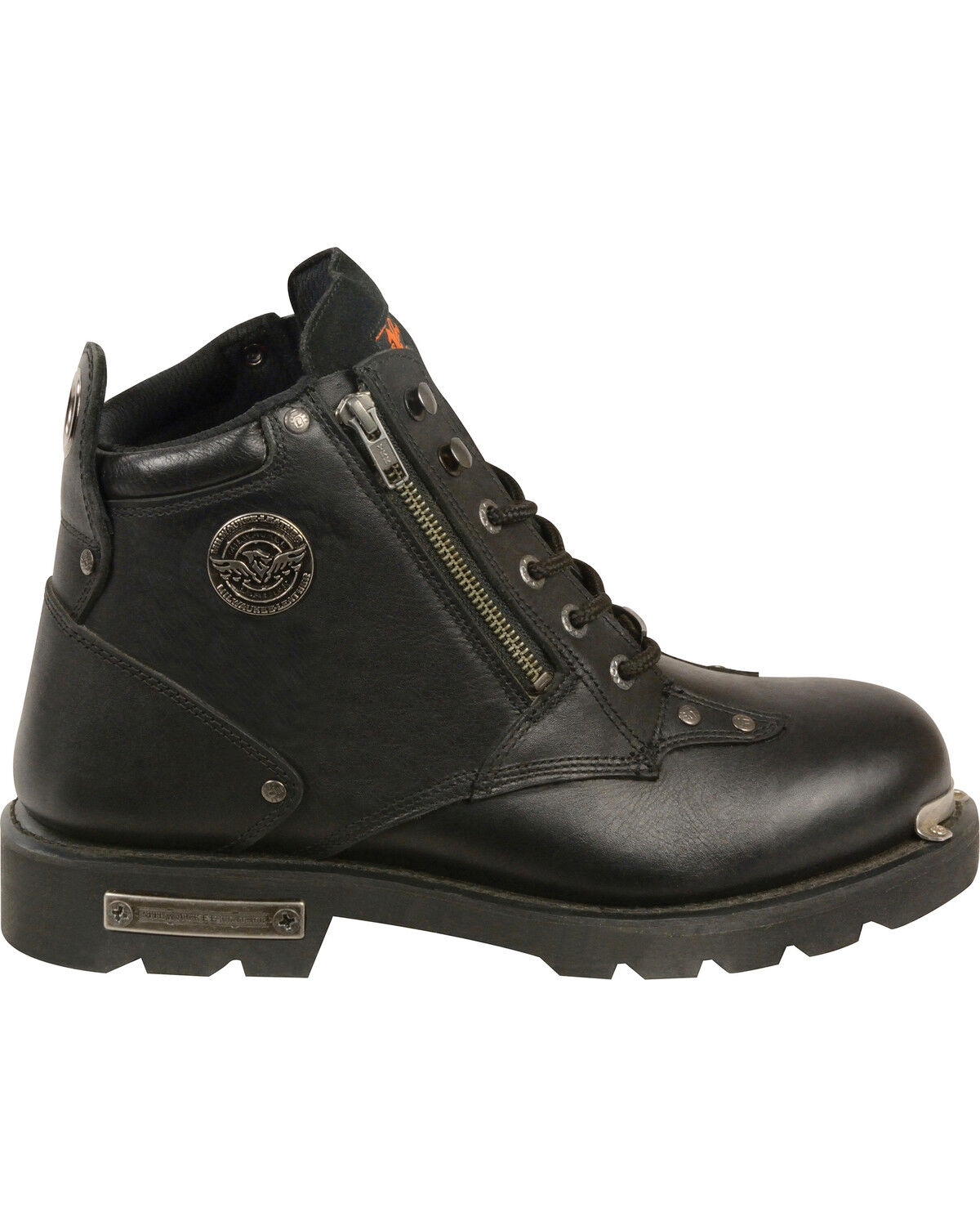 Mens Black Leather Lace Boots w Double Zippers