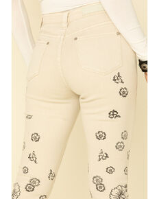 Rock & Roll Cowgirl Women's Tan Floral Print High Rise Flare Jeans , Tan, hi-res