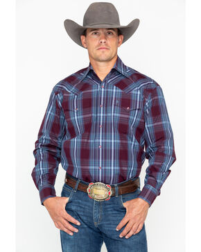 Stetson Men's Large Plaid Snap Long Sleeve Western Shirt , Wine, hi-res