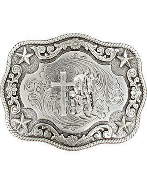 Nocona Rope Edge Cowboy Prayer Buckle, Silver, hi-res