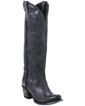 Lane Women's Plain Jane Distressed Round Toe Western Boots, Black, hi-res