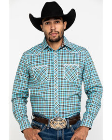 Rough Stock By Panhandle Men's Bergen Ombre Plaid Long Sleeve Western Shirt , Blue, hi-res