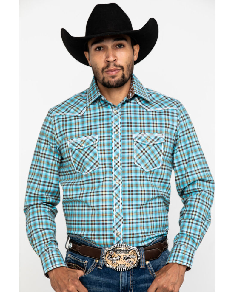 Rough Stock By Panhandle Men's Bergen Ombre Plaid Long Sleeve Western Shirt , Blue, hi-res