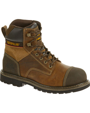 "CAT Men's Traction 6"" Steel Toe Work Boots, Beige, hi-res"