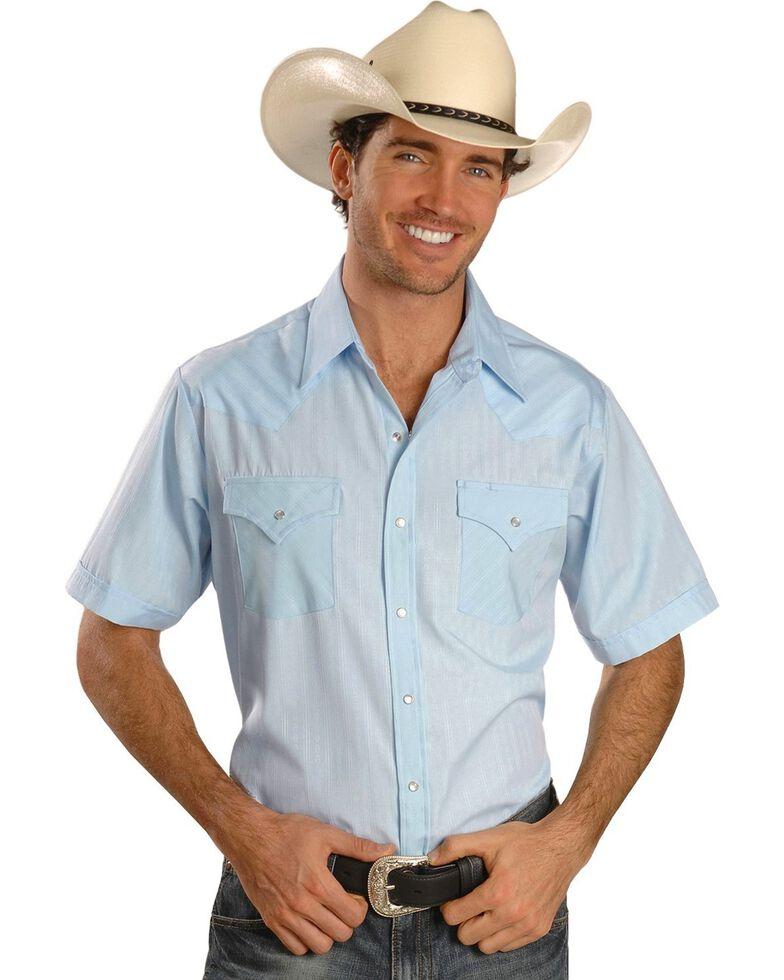 Ely Cattleman Men's Tone On Tone Western Shirt, Light Blue, hi-res