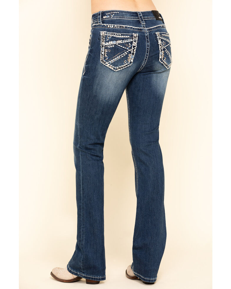 "Grace in LA Women's Inverted Design 34"" Bootcut Jeans, Blue, hi-res"