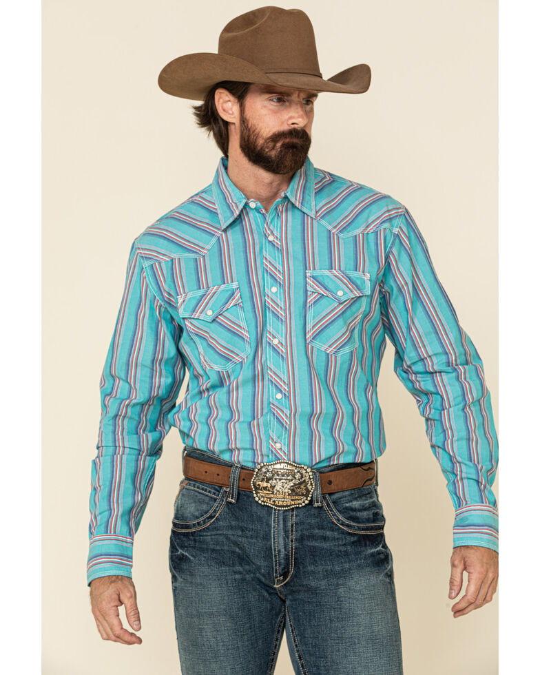 Wrangler 20X Men's Advanced Comfort Blue Striped Long Sleeve Western Shirt , Blue, hi-res