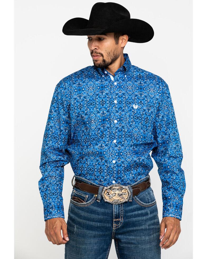 Rough Stock By Panhandle Men's Cayuga Vintage Print Long Sleeve Western Shirt , Blue, hi-res