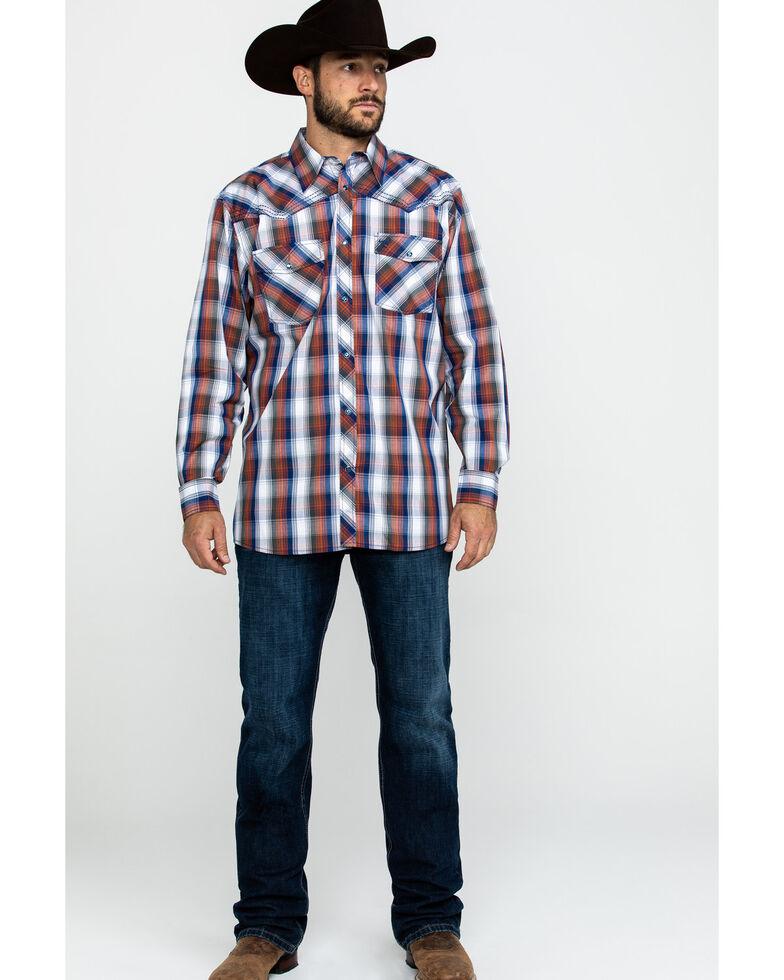 Cowboy Hardware Men's Multi Large Plaid Long Sleeve Western Shirt , Orange, hi-res