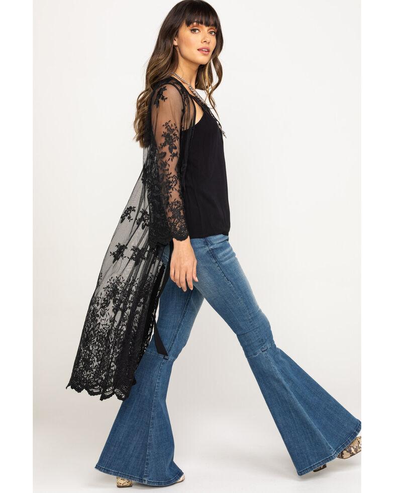 Flying Tomato Women's Black Lace Duster Kimono, Black, hi-res