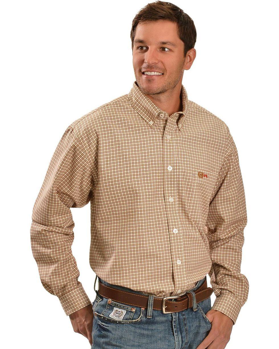 Cinch Men's Flame Resistant Plaid Long Sleeve Work Shirt, Brown, hi-res