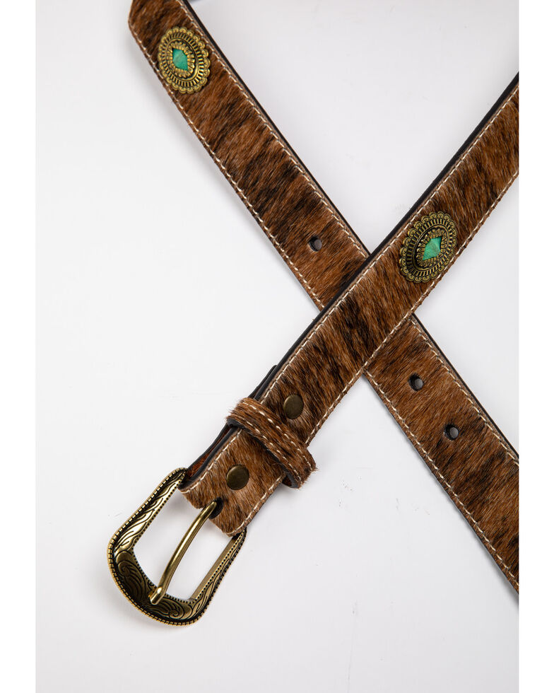 Shyanne Womens Hair On Turquoise Concho Western Belt